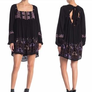 Free People Black Rhiannon Embroidered Dress New